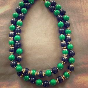 Banana Republic Navy/Green Beaded Layer Necklace